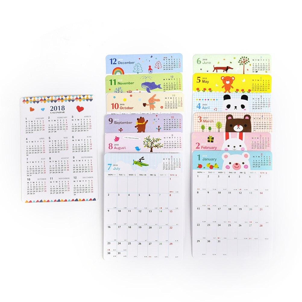 2018 Calendars Efforts Plan Book Cute Cartoon Paper Gift Ideas Plan Book Kawaii Desk Month