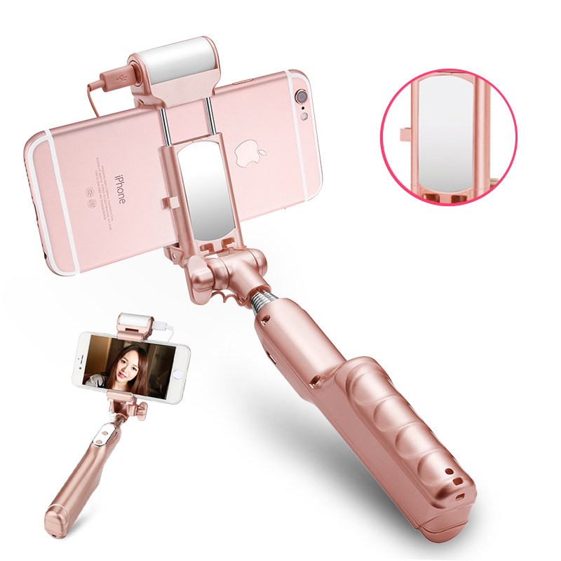 Led Flash Fill Light Selfie Stick With Rear Mirror Lighting Bluetooth Monopod For iPhone X 8 Samsung Huawei Xiaomi Android Phone led flash fill light selfie stick lighting bluetooth monopod with rear mirror for iphone 7 6 6s plus 5 5s se 4 4s android phones