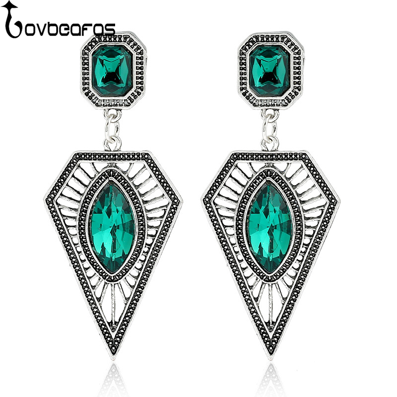 LOVBEAFAS 2018 Fashion Boho Gem Drop Earrings For Women Fine Jewelry Vintage Silver Ethnic Power Bohemian Earrings Long Earrings