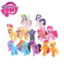 12 pçs/set My Little Pony Brinquedos Mini Ação PVC Figures Set Rainbow Dash Pônei Twilight Sparkle Apple Jack Pico dragão Bonecas(China)
