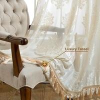 Gigizaza cortina de borla para sala de estar  cortina de tule transparente cor branca feita