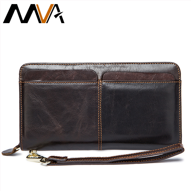 MVA Genuine Leather Men Wallet Male Clutch Coin Purse Men Wallets with Strap Portomonee Money Bag Phone Wallet Long Card Holders men wallet male cowhide genuine leather purse money clutch card holder coin short crazy horse photo fashion 2017 male wallets