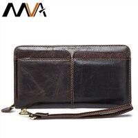MVA Genuine Leather Men Wallet Male Clutch Coin Purse Men Wallets with Strap Portomonee Money Bag Phone Wallet Long Card Holders