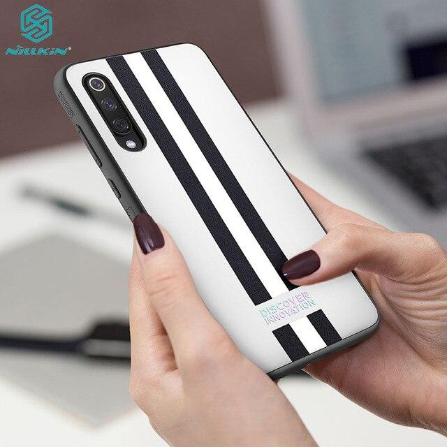For Xiaomi Mi 9 Case Mi 9 Explorer Cover Nillkin Striped case PC PU leather Reflective Twinkling Back Cover Case For Xiaomi Mi9