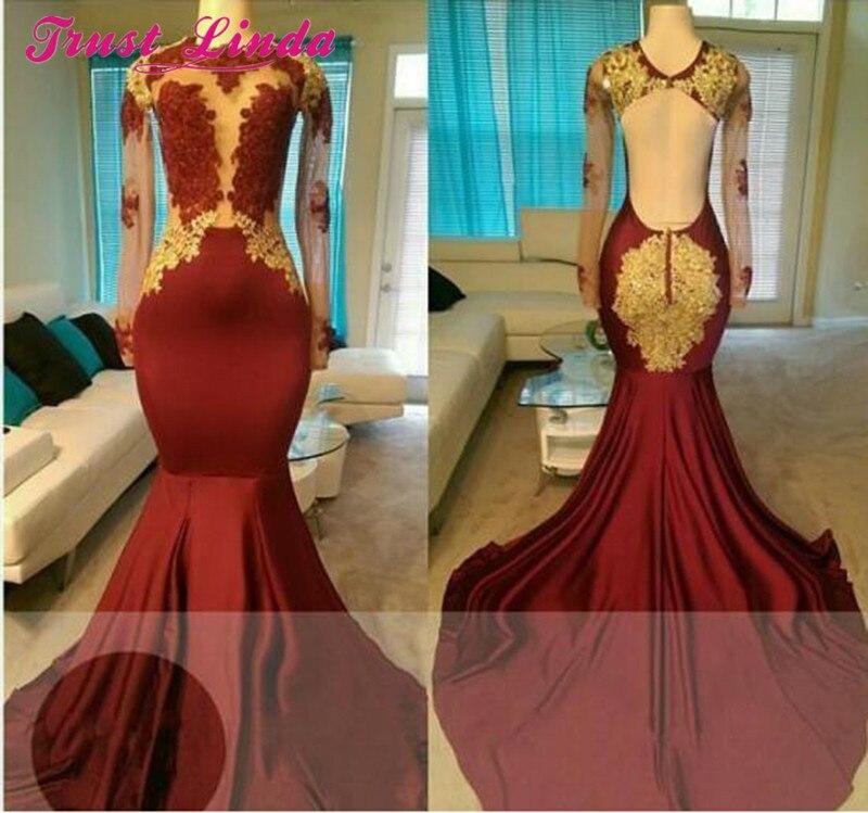 Vraie Photo Sexy bourgogne sirène mère robes robes formelles 2018 or Appliques tenue de mariage robes de bal tapis rouge