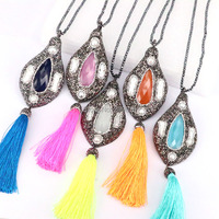 3Pcs New Fashion Design Pave Crystal Rhinestone Stone Pearl With Silk Tassels Pendant Hematite Bead Necklace