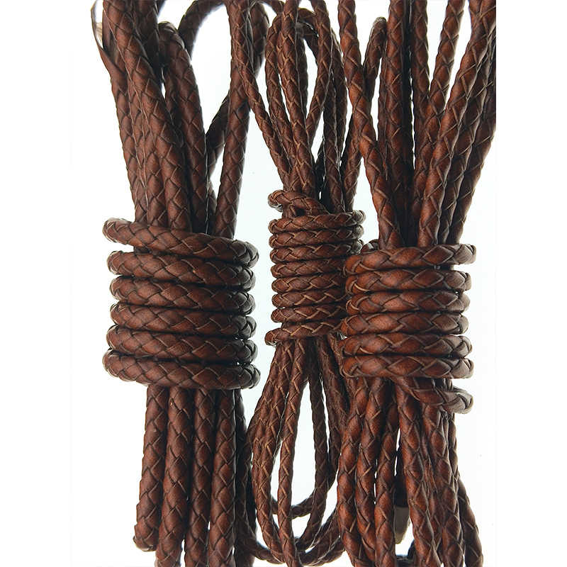 2meter Reale del Cuoio Della Mucca Corda Intrecciata Retro Brown Genuine Leather Rope Cord Strings FAI DA TE Collana Del Braccialetto Dei Monili Accessori
