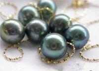 18 8,5 мм круглый черный жемчуг желтое золото заполнены ожерелье AAAAA + +