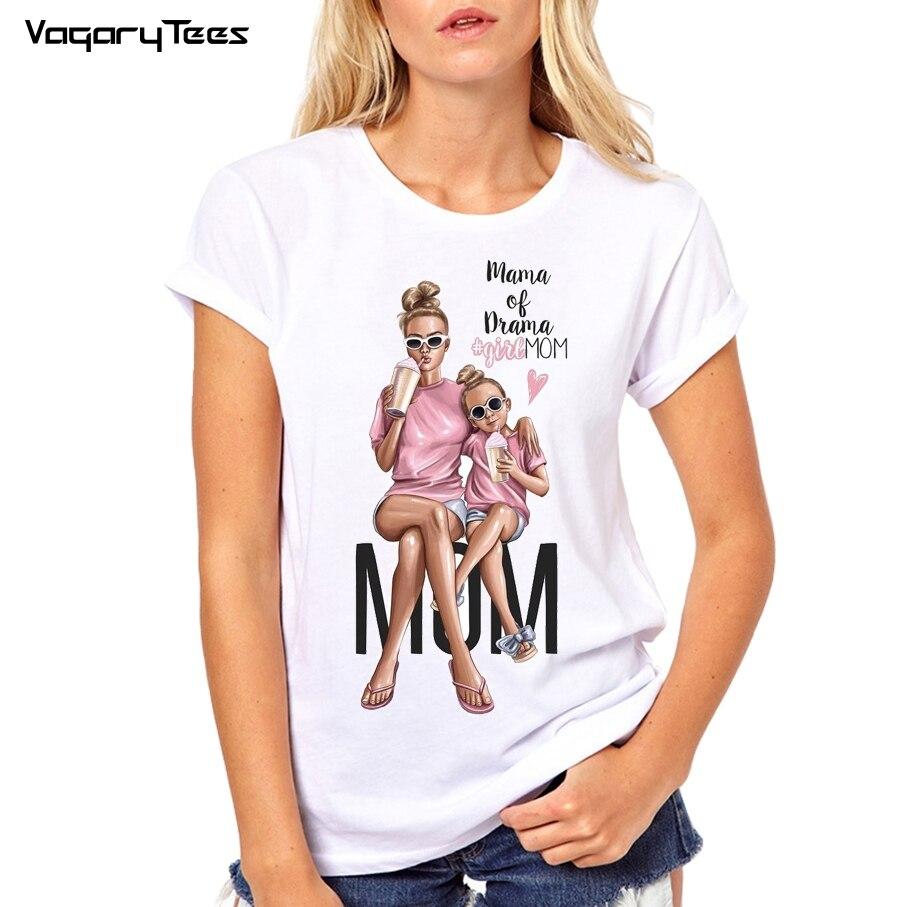 Super Mom T Shirt Women Mother's Love Print White T-shirt Harajuku Tshirt Vogue Tops Tee Shirt Femme Vogue Super Mama TShirt