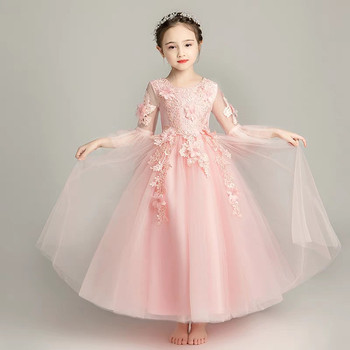 Children Girls Luxury Pink Color Flowers Birthday Wedding Party Princess Lace Dress Kids Teens Cute Piano Host Costume Dress