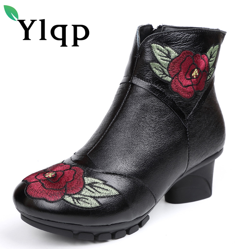 Ylqp 2018 Vintage Style Genuine Leather Women Boots Mid Heels Booties Soft Cowhide Women's Shoes Zip Ankle Boots Zapatos Mujer twisee new lace up ankle boots zapatos mujer women genuine leather boots vintage style flat booties round toe women s shoes