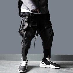 ONS Size Cargo Broek Mannen Harajuku Streetwear Tactiek Broek Lint Multi-pocket Broek Elastische Taille HipHop Mannelijke Zwarte Broek DG29