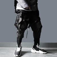 US Size Cargo Pants Men Harajuku Streetwear Tactics Pants Ribbon Multi pocket Trousers Elastic Waist HipHop Male Black Pant DG29