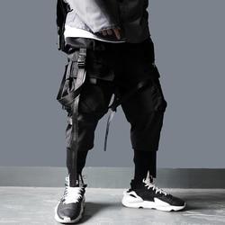 US Size Cargo Pants Men Harajuku Streetwear Tactics Pants Ribbon Multi-pocket Trousers Elastic Waist HipHop Male Black Pant DG29