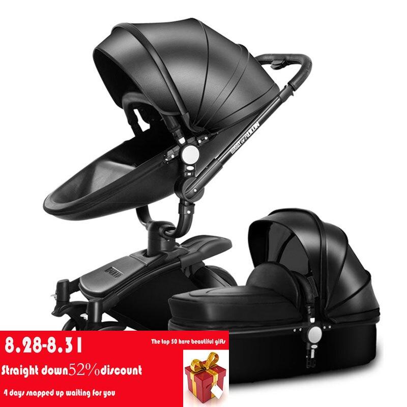 AULON Oyun Longue bébé poussette double sens haute-profil amortisseur bébé voiture peut s'asseoir panier bébé chariot