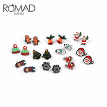 ROMAD Cute Cartoon Santa Claus Snowman Stud Earrings for Women Christmas Tree Bell Crutch Earrings Xmas Gift Fashion Jewelry R3 pair of chic snowman christmas earrings jewelry for women