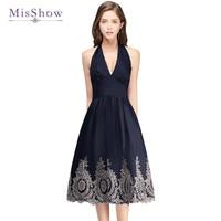 MisShow New Arrival Summer Women vintage Dresses Gold Appliques Audrey Hepburn V Neck Halter Dress Real Picture
