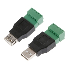 USB 2.0 Type A Male/Female to 5P Screw w/ Shield Terminal Plug Adapter Connector cy u3 035 usb 3 0 male to female cable w screw holes black 50cm