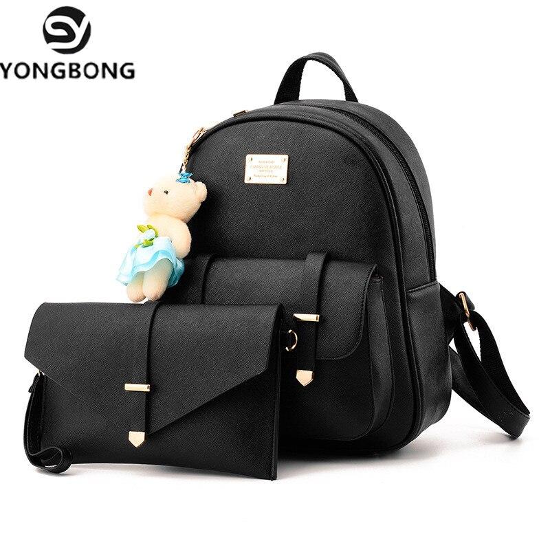 fbda350ed65d YONGBONG 2 Pcs Set Fashion Simple Style Women Backpacks Leather School Bags  Satchel Brand Design