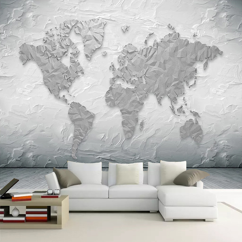 Custom Mural Wallpaper Stone Texture World Map Modern Study Room Living Room TV Background Wall Photo Mural Papel De Parede 3D