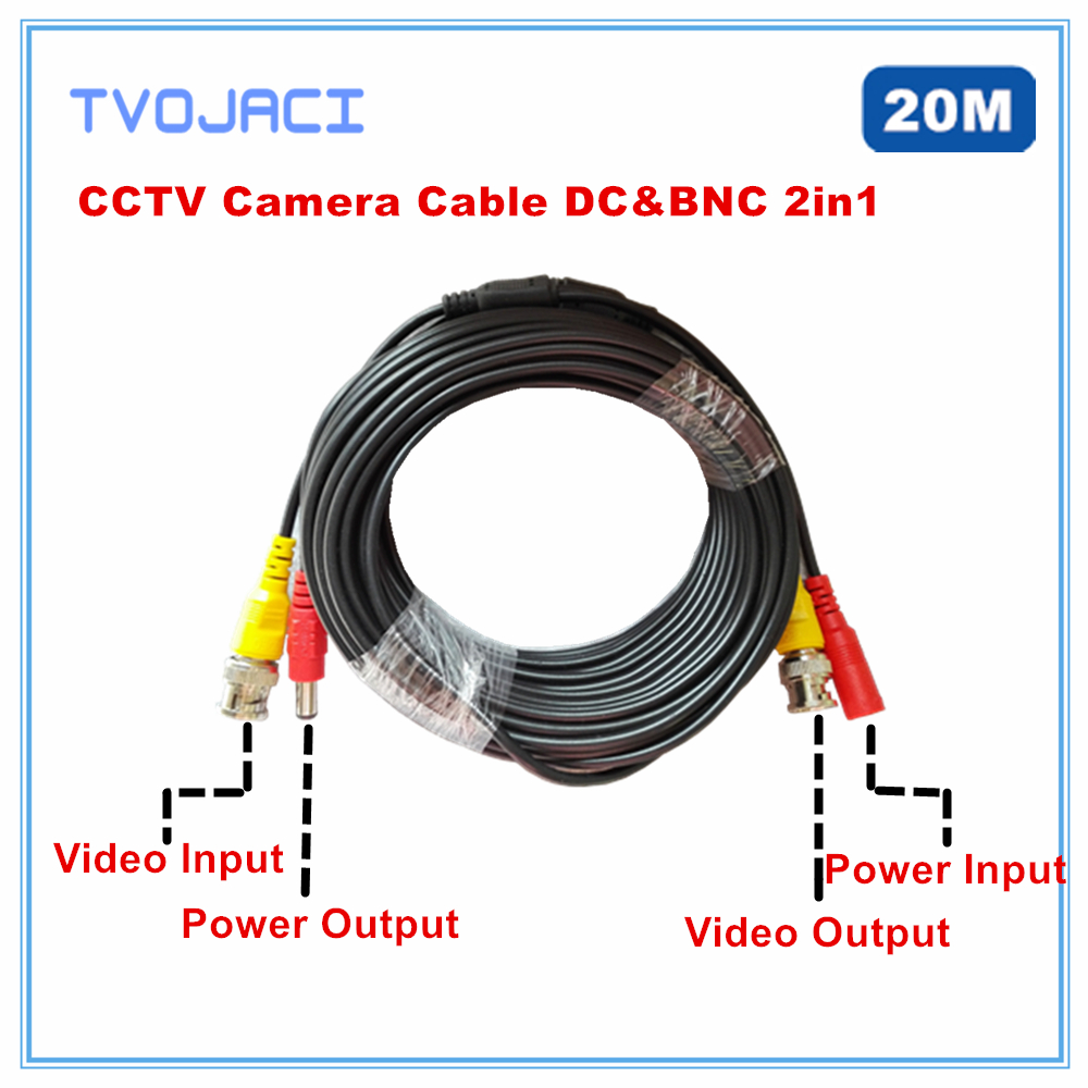 BNC DC  Power Video Security  CCTV Camera Cable 20m For Analog AHD CVI TVI  Power Video Cable  Surveillance Camera DVR System