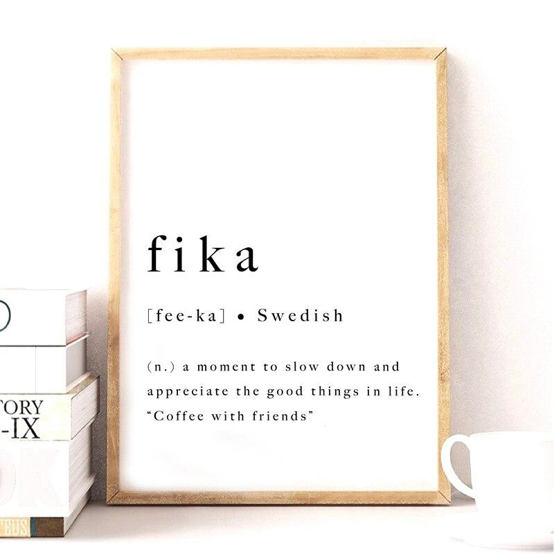 Fika Swedish Quote Art Print Inspirational Poster Sweden Scandinavian Modern Wall Art Canvas Painting Prints Home Artwork Decor