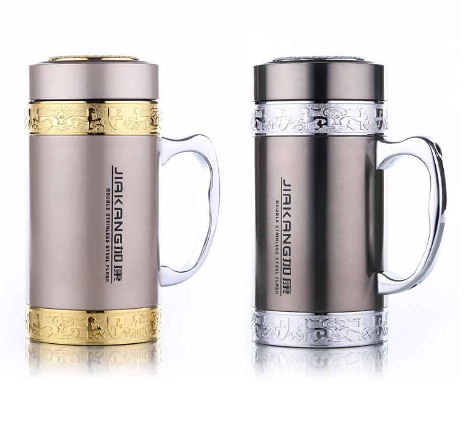 500ml Double Wall Drinkware Vacuum Flask Thermos 304 Stainless Steel Thermal Insulated Office Cup Handgrip Filter
