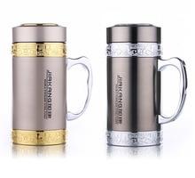 500 ml Doppelwand Drink Isolierflasche Thermos 304 Edelstahl Wärmeisolierende Büro Tasse Handgriff-filter tee Wasser Becher