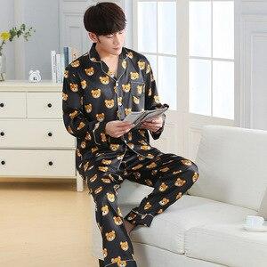 Image 5 - Pyjama pour hommes, ensemble nouveau mode printemps automne, vêtements de nuit, manches longues, dessin animé, amoureux, couple