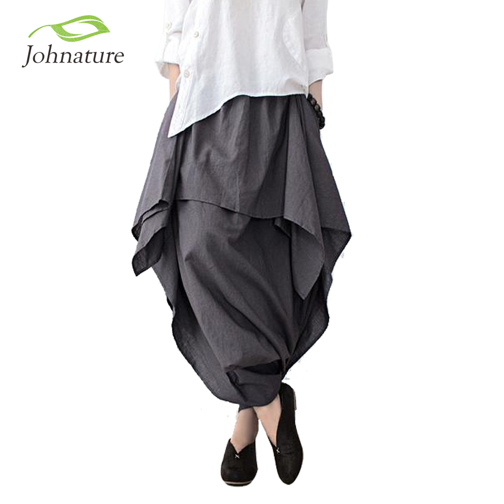 Johnature 2017 New Women Wide Leg Loose Linen Cotton Asymmetric Pants Original Designer Plus Size Capris Elastc Waist Skirt