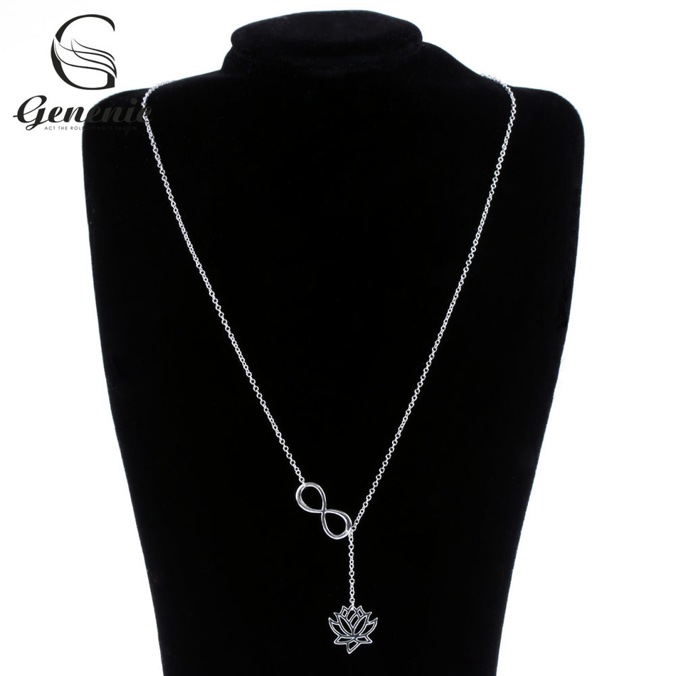 Necklace new lotus flower promotion shop for promotional necklace 1pc new fashion infinity lotus pendant necklace for women link chain plant lotus flower jewelry necklaces party gifts dhlflorist Gallery
