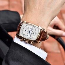 Zegarek męski ze skórzanym paskiem