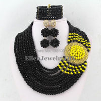 New Arrived Black Crystal Nigerian Wedding African Beads Jewelry Set WS3905