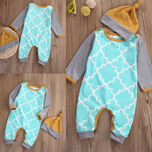 Baby Kids Boy Girl Warm Infant Jumpsuit Bodysuit+Hat Clothes Outfit 2pcs