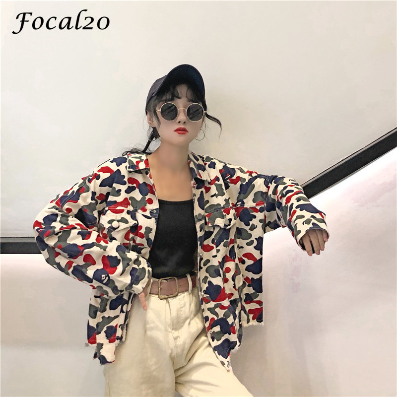 Focal20 Streetwear Camouflage Tassels Ripped Women Jacket Jeans Pockets Turn Down Collar Button Denim Jacket Coat Outwear 7