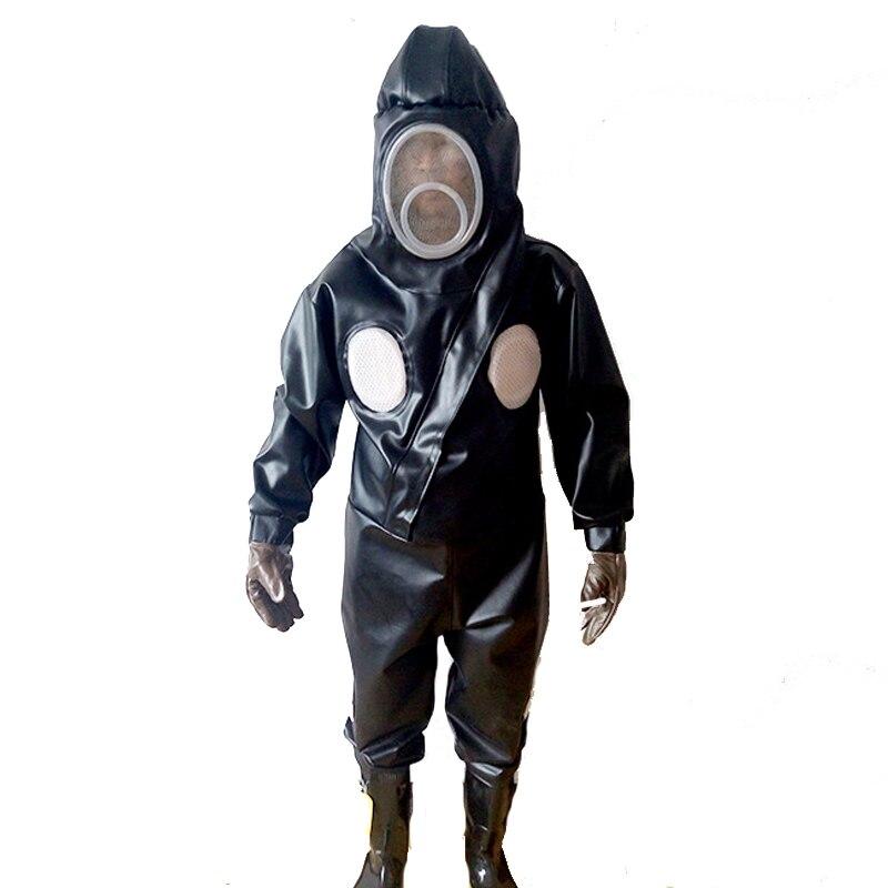 Предотвратить ОСА жалит Костюмы ПВХ трикотажные из нержавеющей стали сетки шляпа Черная курточка куртка + брюки + сапоги анти пчела безопас