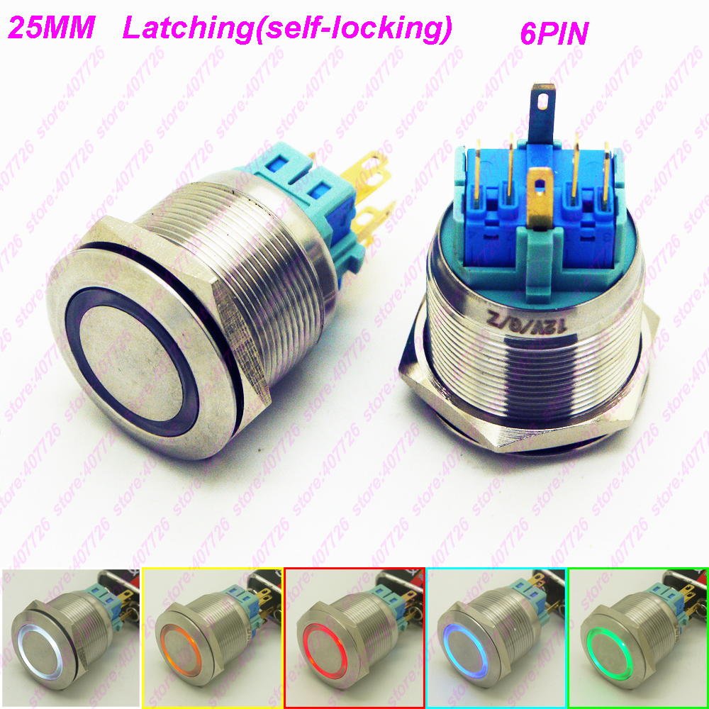 1PC 25MM Metal Switch Glowing Ring Push Button 6Pin With LED 12V/24V Not Released Self-Locking Indication for Car Dash Flat Head 50pcs lot 6 6 7 5 mm 4 pin tactil tact 12v push button interruptor micro switch direct plug in self reset top