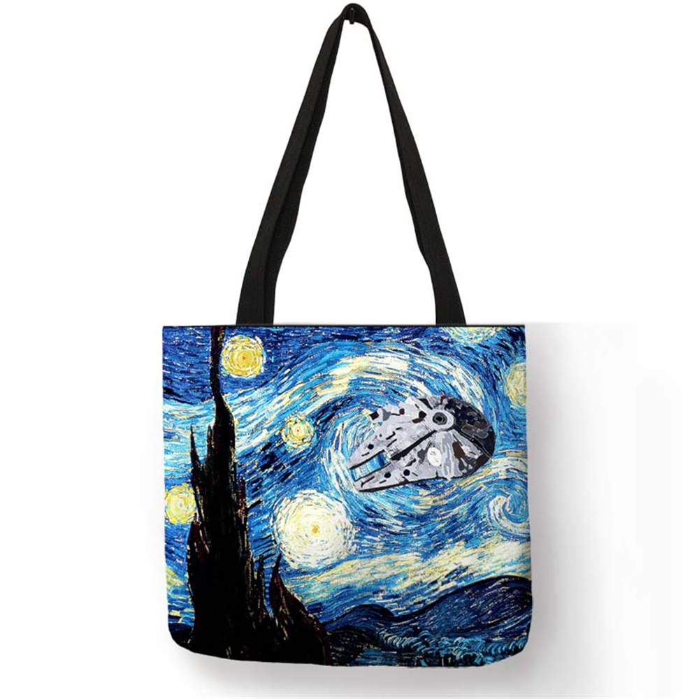 Us 4 5 55 Off Fashion Handbag Starry Night Painting Van Gogh Tote Bags Women Reusable Ping Convenience Traveling Beach Folding In