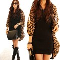 Hot Sexy Women Leopard Chiffon Cardigan Coat Vogue Long Chiffon Blouse Casual Loose Spring Cover Up 2015 New Trends