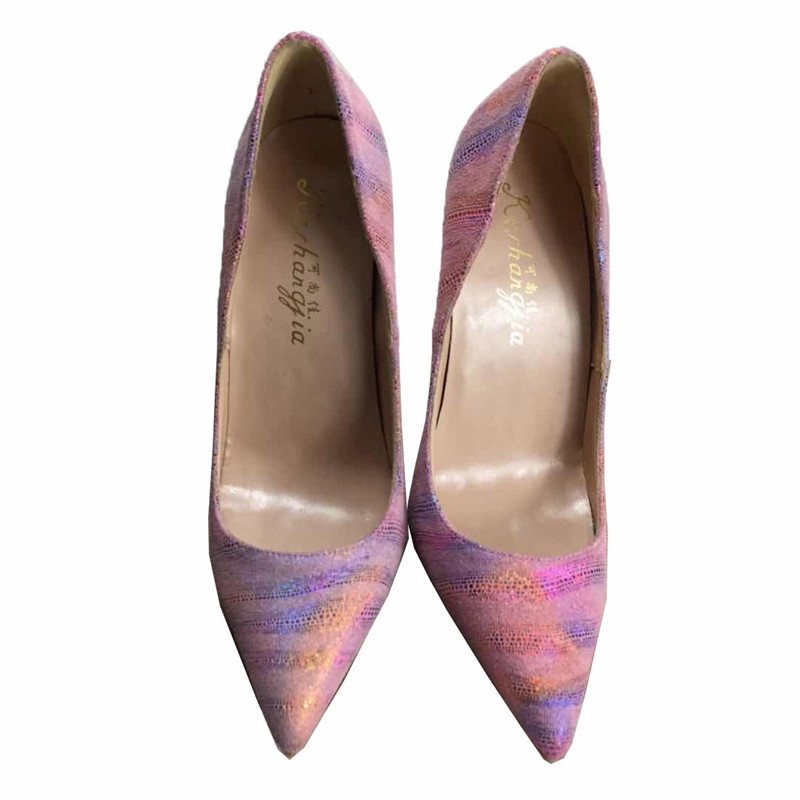 2018 Spring new bling Mixed colors pointed toe ol high heels Ladise pumps shangkejia shallow mouth