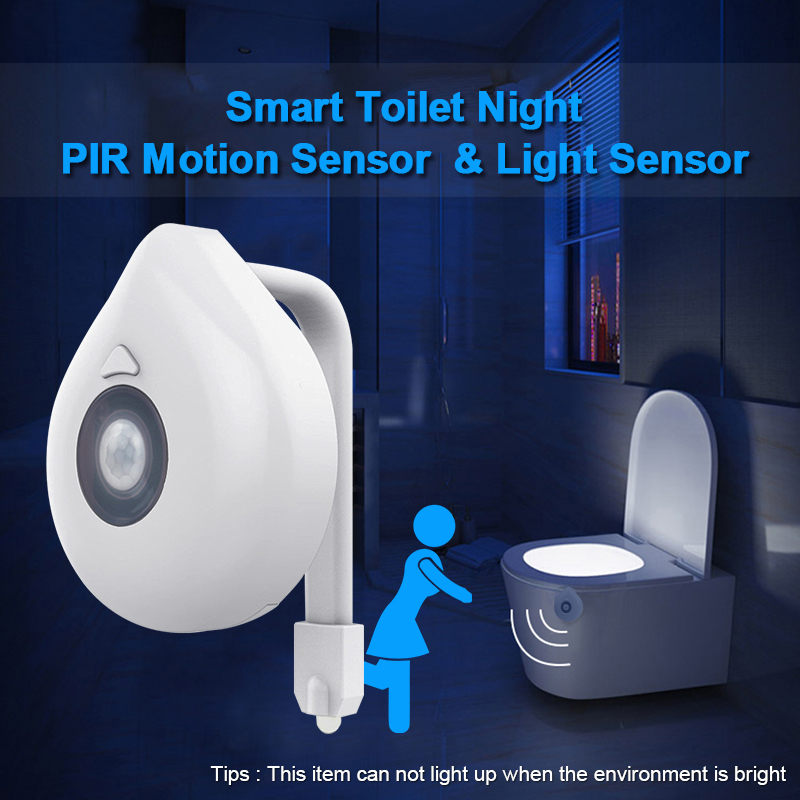 Image 3 - LED Toilet Seat Night Light Motion Sensor WC Light 8 Colors Changeable Lamp AAA Battery Powered Backlight for Toilet Bowl Child-in LED Night Lights from Lights & Lighting