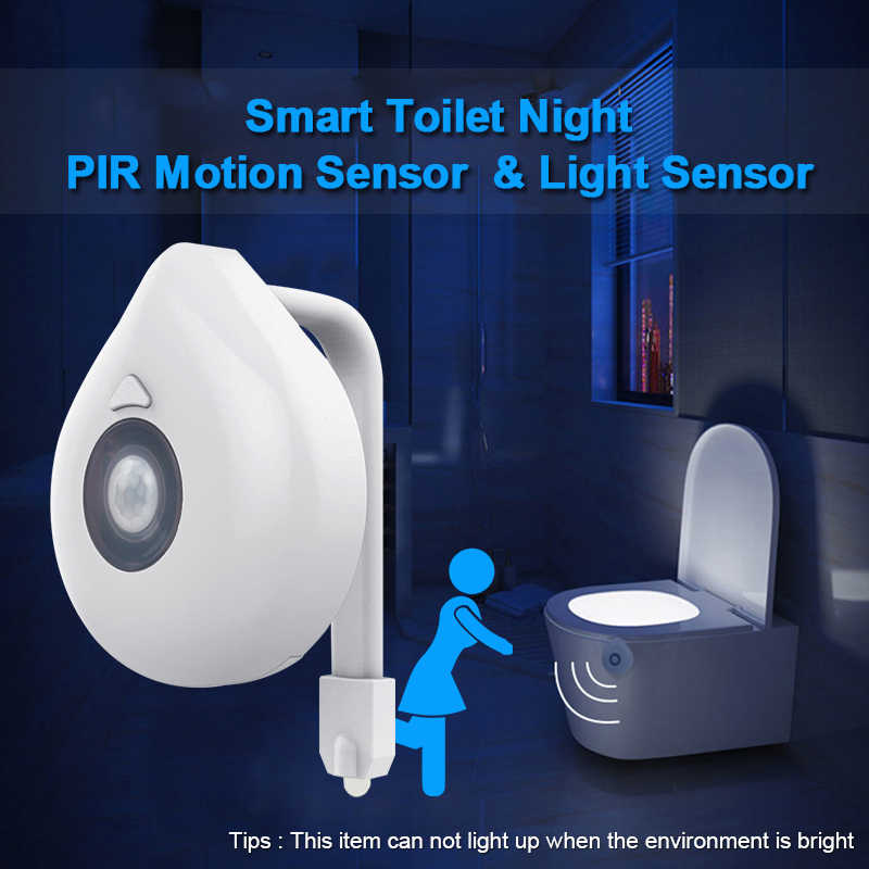 LED Toilet Seat Night Light Motion Sensor WC Light Real 8 Colors Changeable Lamp AAA Battery Powered Backlight for Toilet Bowl
