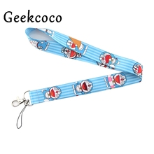 Doraemon cartoon lanyards for keys mobile phone straps necklace card holders webbing ribbons keychain keyring rope cameras J0428