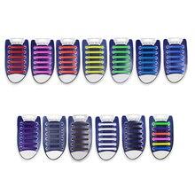 16pcs/lot Women Men Shoelaces Novelty No Tie Shoelaces Unisex Elastic Silicone Shoe Laces All Sneakers Fit Strap Shoelace
