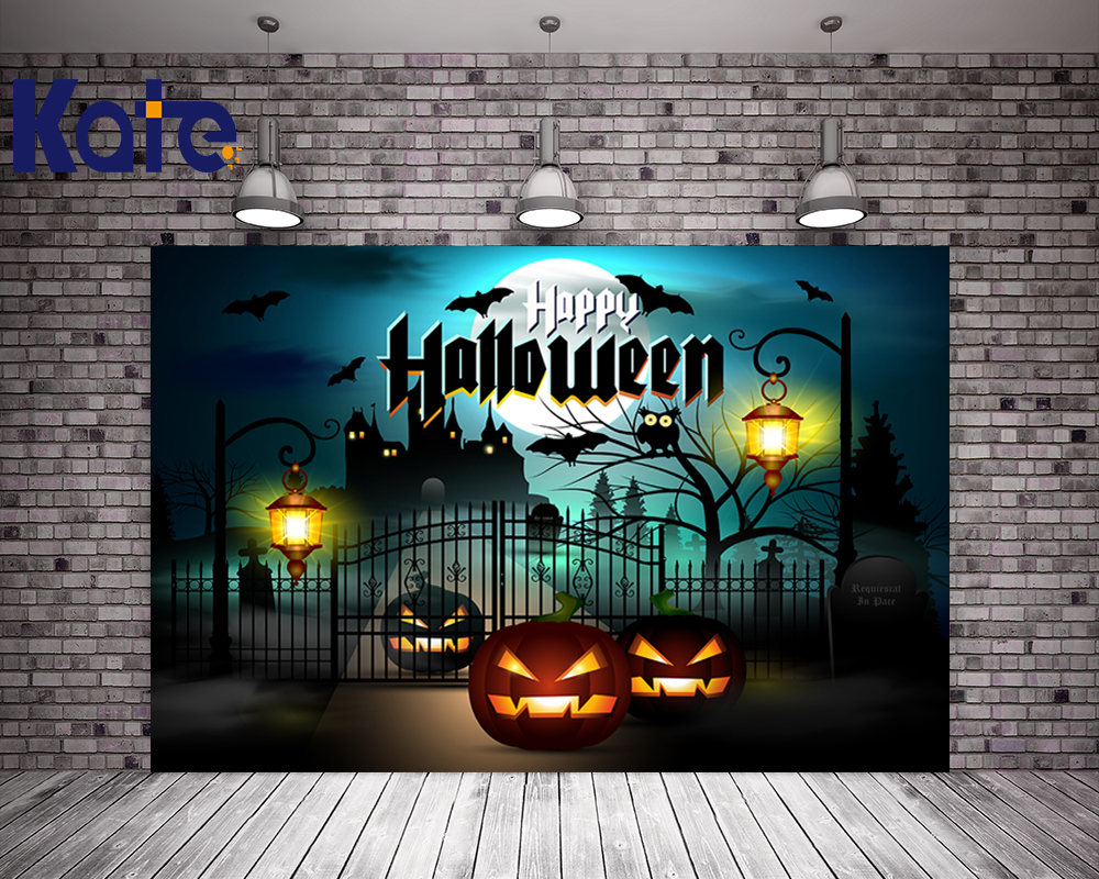 Kate Dark Blue Background Happy Halloween Photography Background Iron Gate Pumpkin Children Custom Backdrops for Parties