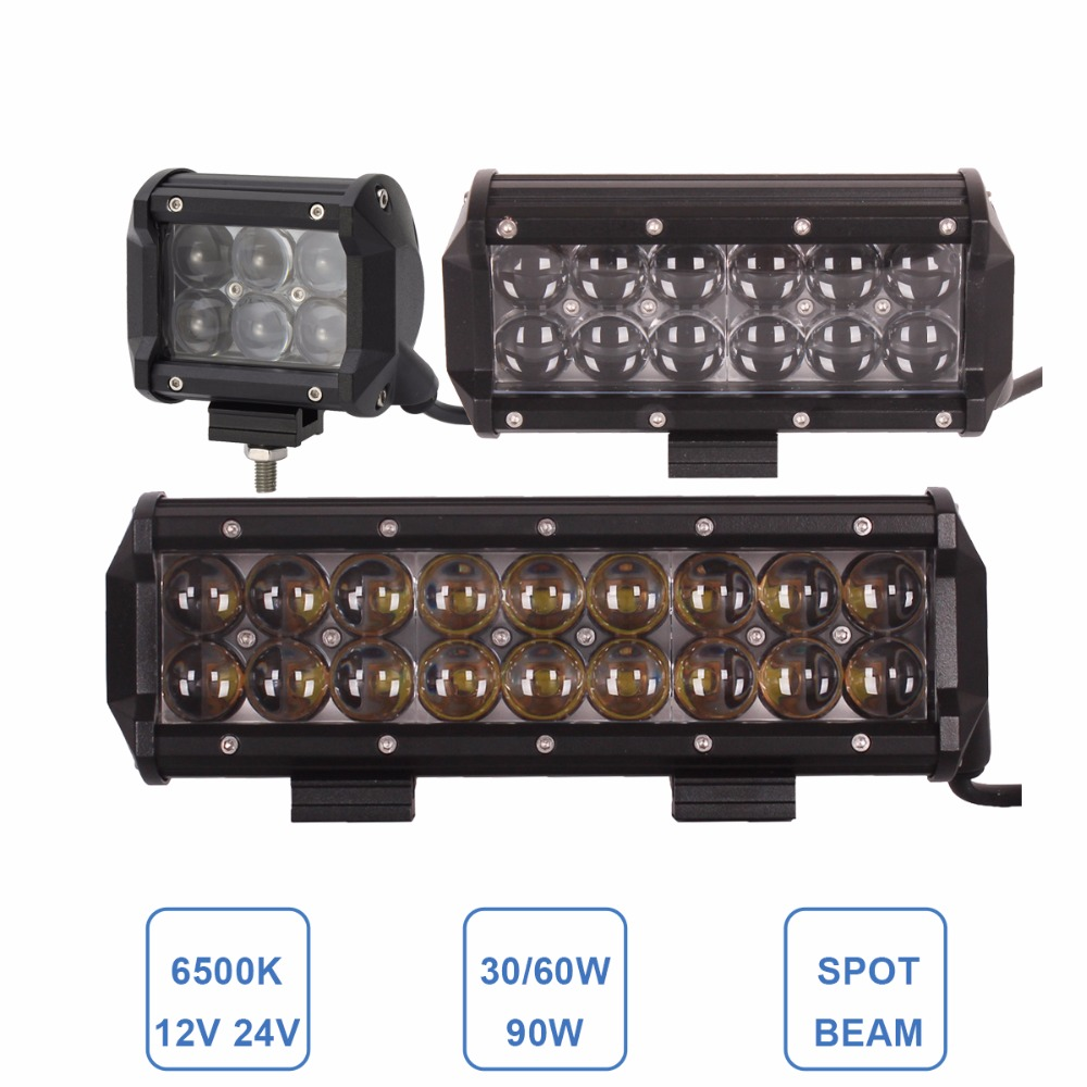 OFFROAD LED WORK LIGHT BAR 30W 60W 90W CAR ATV SUV HEAVY DUTY 4X4 4WD UTE TRAILER MOTORCYCLE DRIVING HEADLIGHT AWD SPOT FOG LAMP
