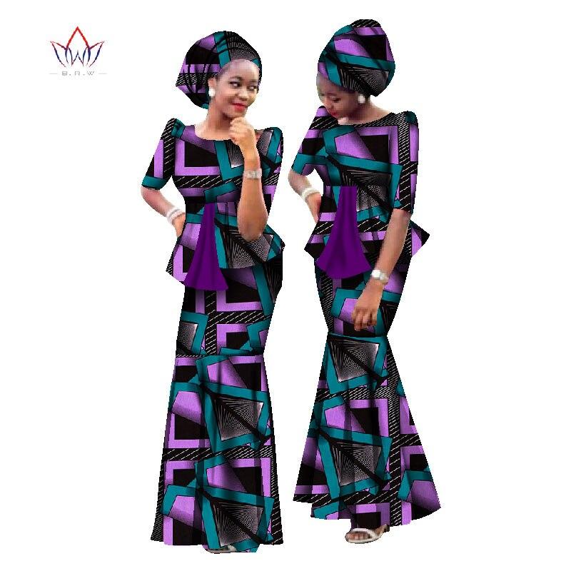 Nouveau africain cire impression femmes ensemble dashiki grande taille vêtements africains tenues & Headtie traditionnel africain vêtements WY1170