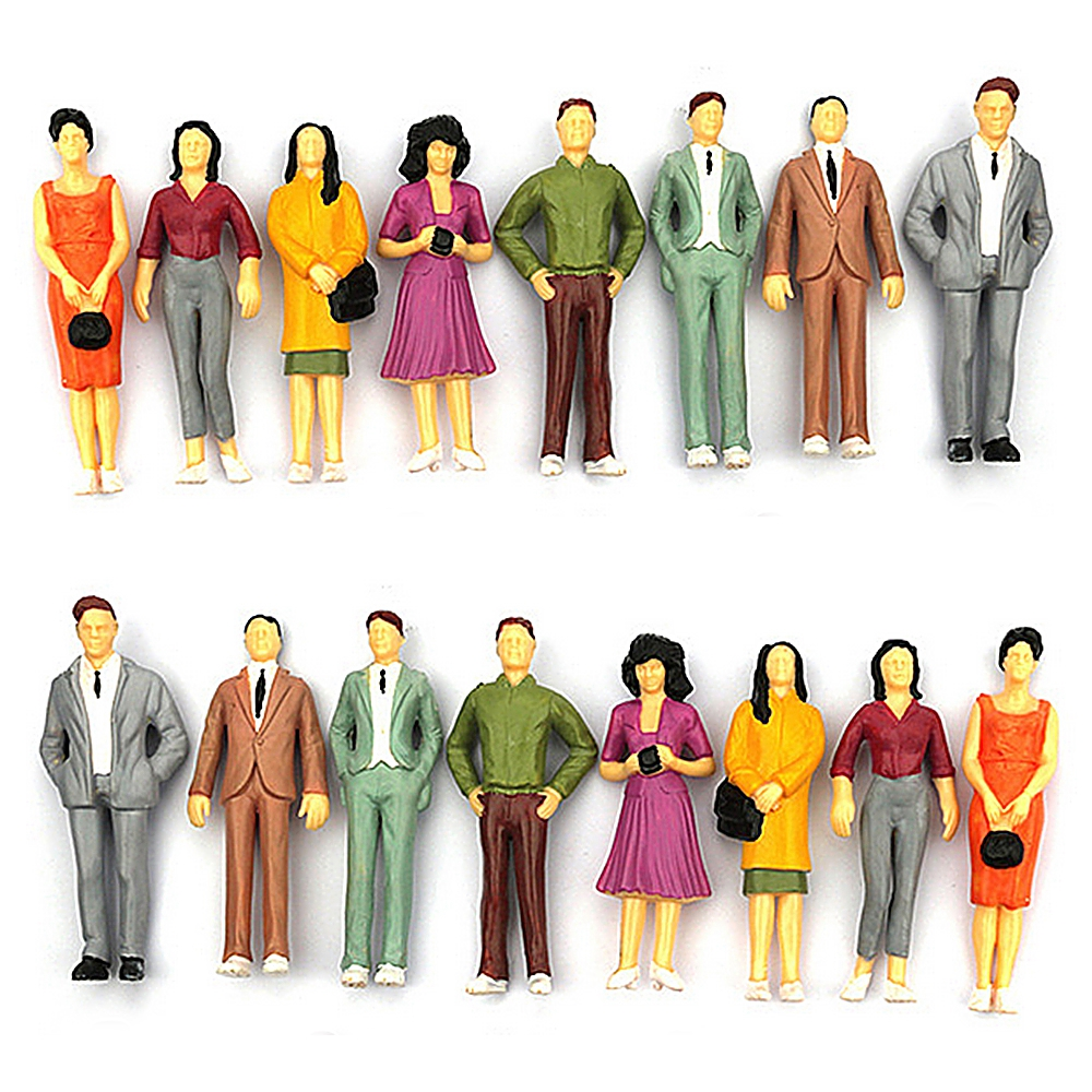Nice 100PCS 1:100/75/150 Resin Building Layout Model People HO Scale Painted Figure Passenger Model Human