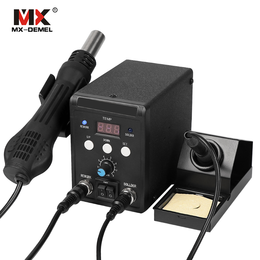 MX-DEMEL 220V 700W 8586 Tool Welding Tip Lead-Free Soldering Station BGA Rework SMD Hot Air Gun Heat Eletric Soldering Iron Kit цена