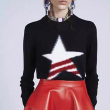 Autumn and winter women 2016 fashion five-pointed star pattern o-neck wool sweater
